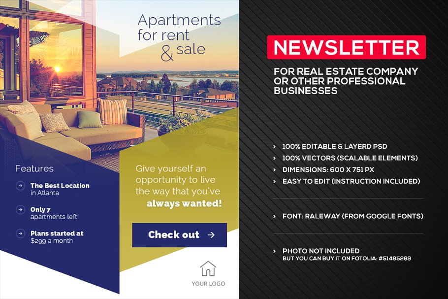 simple psd real estate email newsletter