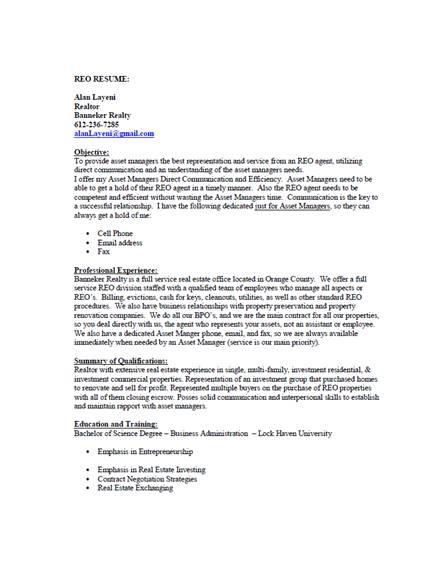 simple realtor resume example