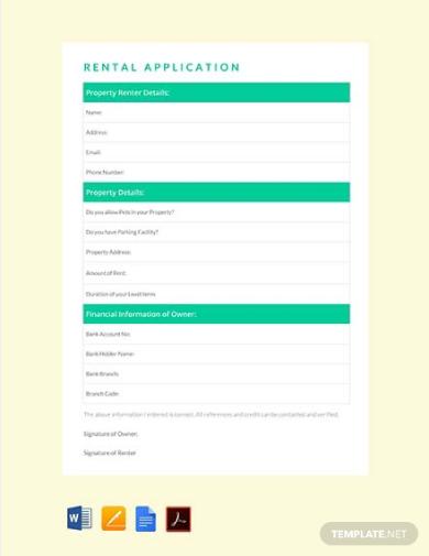 simple rental application