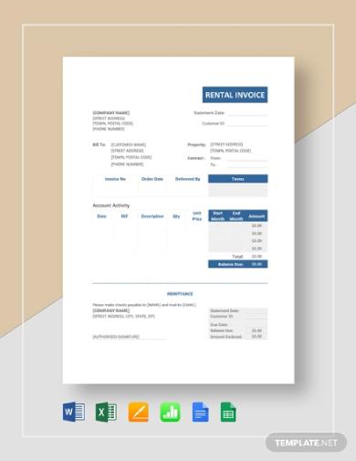 simple rental invoice