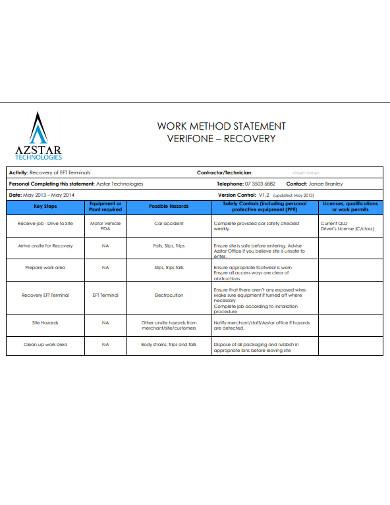 simple work method statement