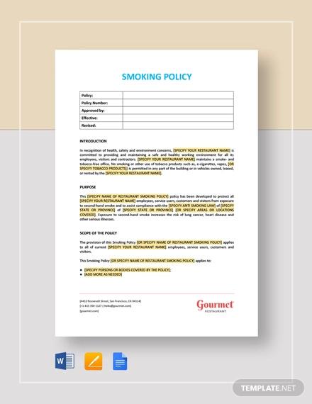 smoking policy template