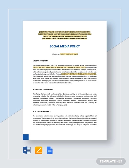 Free 13 Social Media Policy Examples In Pdf Google Docs