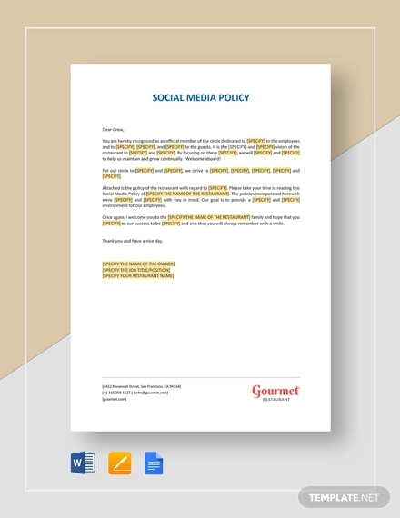 social media policy templates for restaurant