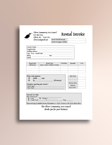 space rental invoice