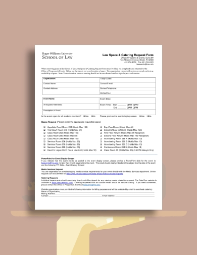 space and catering request form