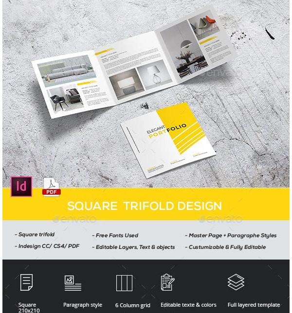 square trifold portfolio sample