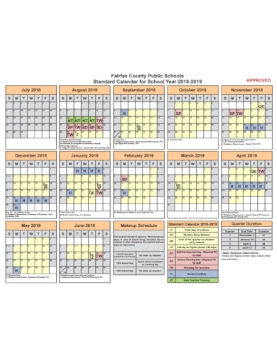 standard calendar for school year