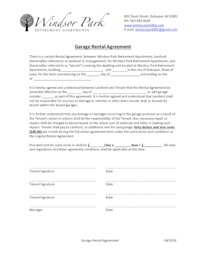 standard garage rental agreement