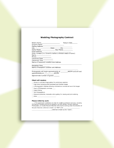 standard wedding photography contract