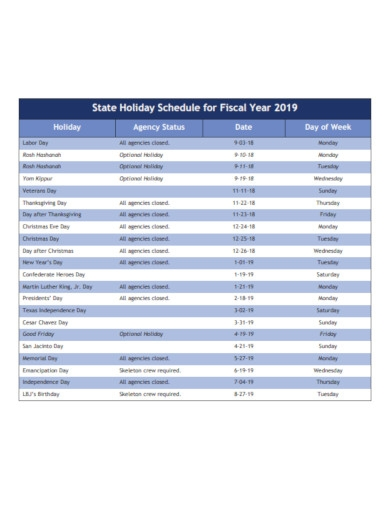 state holiday schedule for fiscal year