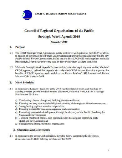strategic work agenda