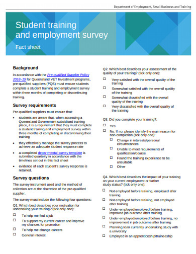 student training and employment survey