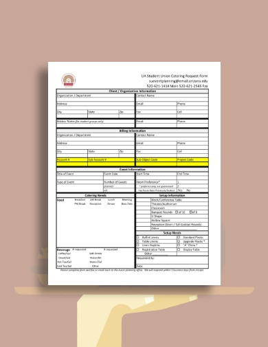 student union catering request form