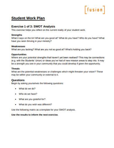 student work plan