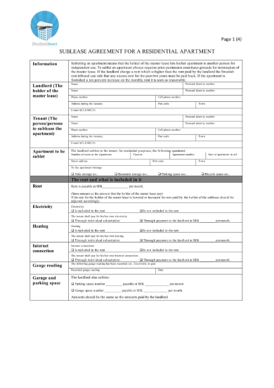 sublease agreement for residential apartment rental