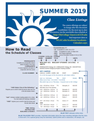 summer and fall class schedule