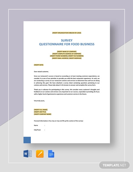 survey questionnaire for food business