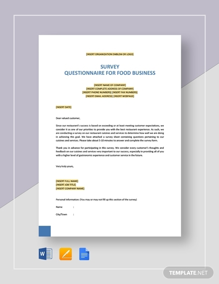 survey questionnaire for food business2