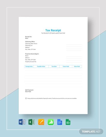 tax receipt template