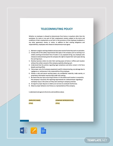 telecommuting policy template