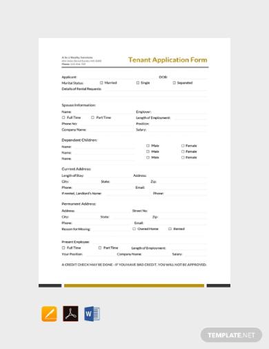 tenant rental application form
