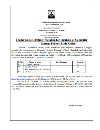 tender notice inviting quotation