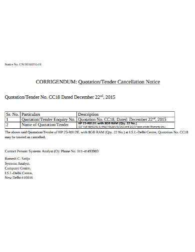 tender quotation cancellation notice