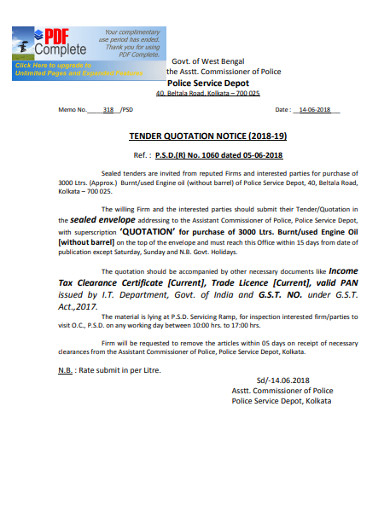 tender quotation notice