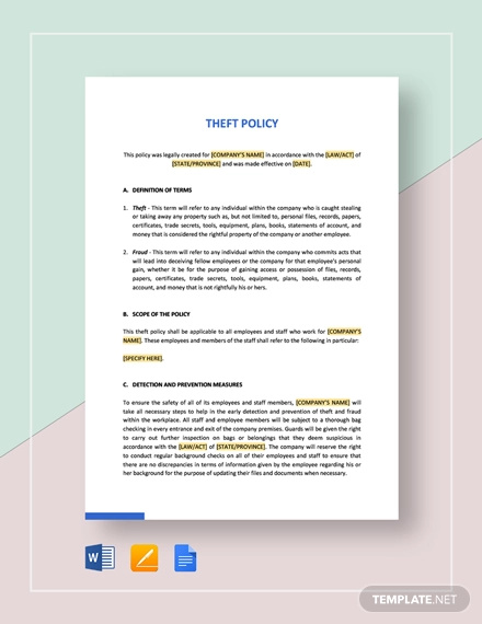 theft policy template