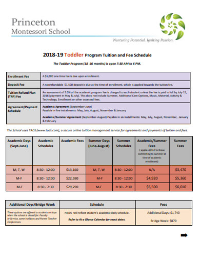 toddler​ ​program tuition and fee schedule