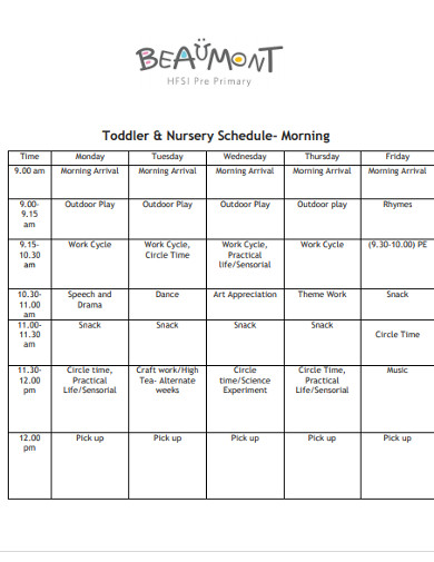 toddler nursery schedule