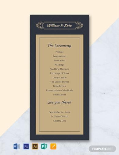 traditional church wedding program