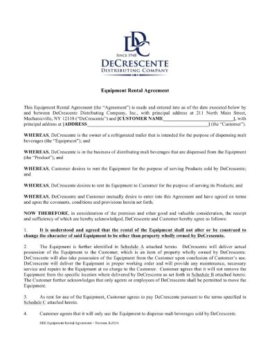 trailer equipment rental agreement