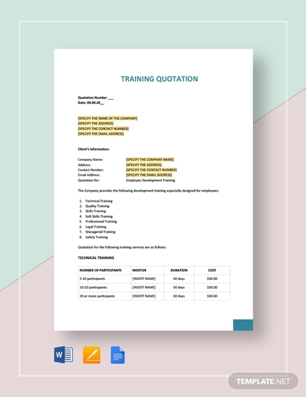 training quotation template