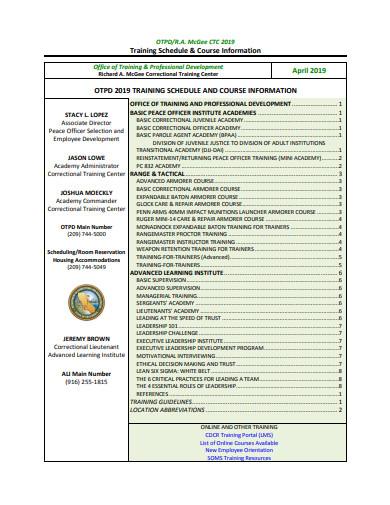 training schedule course information