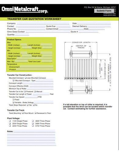 transfer car quotation worksheet