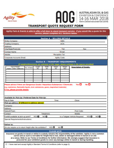 transport quote request form