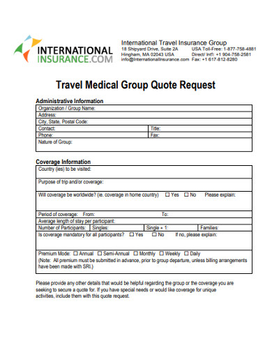 travel medical group quote request form