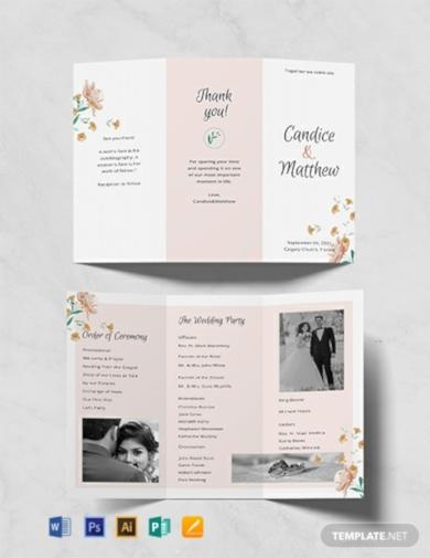 tri fold church wedding program