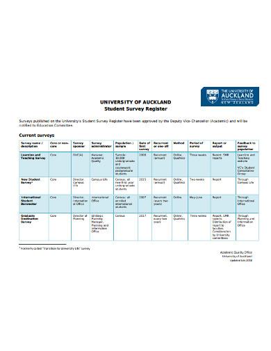 university student survey register