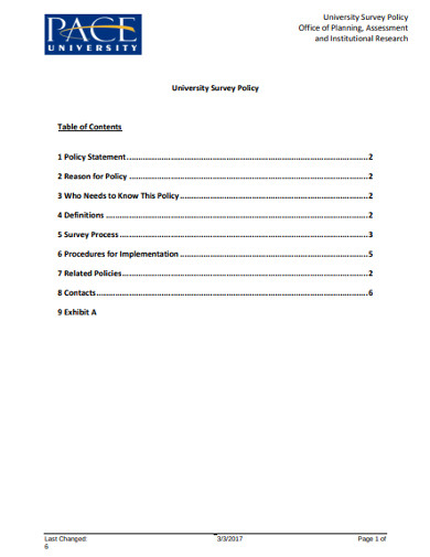 university survey policy
