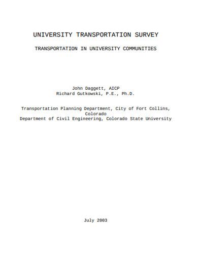 university transportation survey