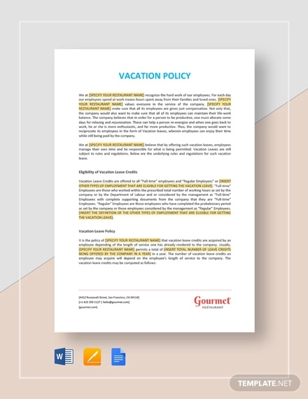 vacation policy template