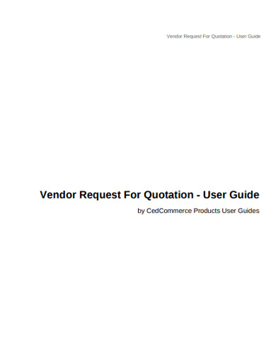 vendor request for quotation