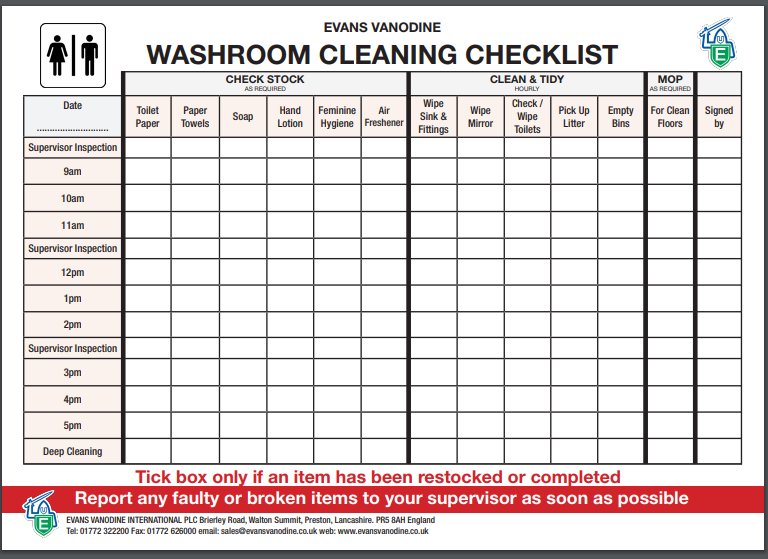 washroom cleaning roster