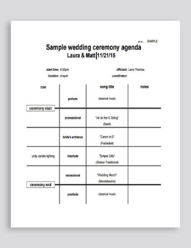 wedding ceremony agenda