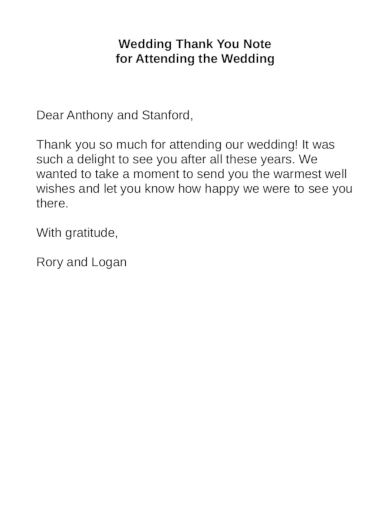 wedding thank you note for attending the wedding