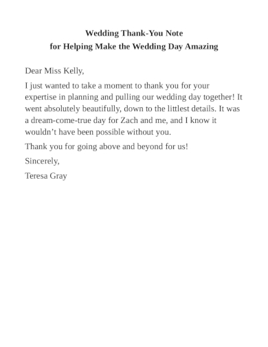 wedding thank you note for helping make the wedding day amazing