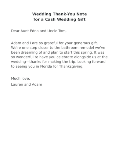 wedding thank you note for a cash wedding gift